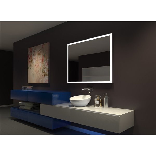 """Miroir à éclairage DEL intégré, 48"""" x 36"""", 3000K, 24V"""