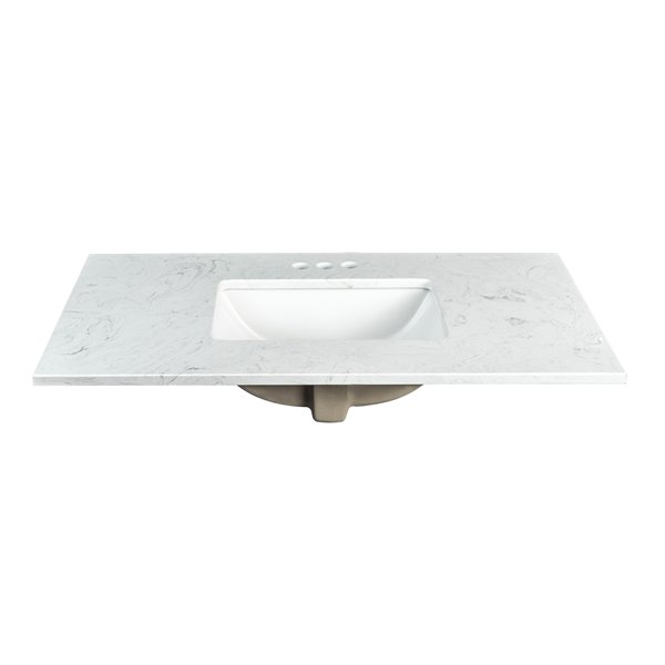 Foremost Ariston 37-in White Engineered Stone Top 4-in Centreset