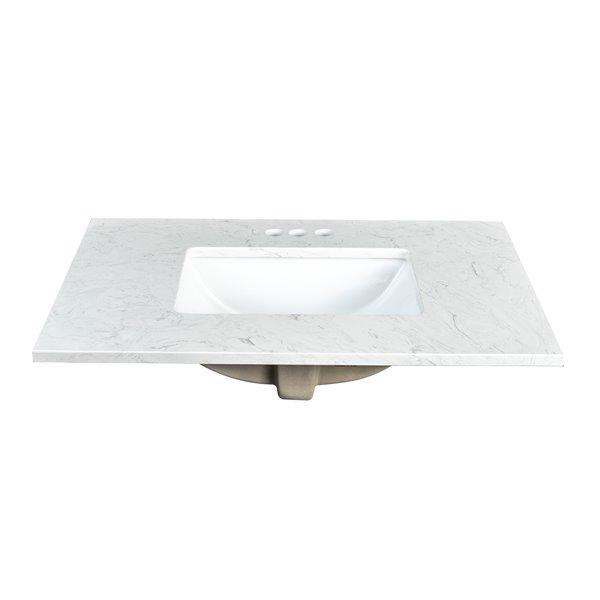 "Comptoir en pierre artificielle Ariston Foremost, 31"", blanc"