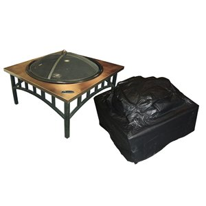 Paramount Black Outdoor Square Firepit Cover