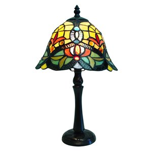 Fine Art Lighting Ltd. Tiffany 9-in x 16-in with Vintage Bronze Base and Multi Coloured Glass Shade Table Lamp