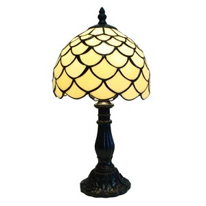 Fine Art Lighting Ltd. Tiffany 8-in x 15-in with Vintage Bronze Base and Multi Coloured Glass Shade Table Lamp