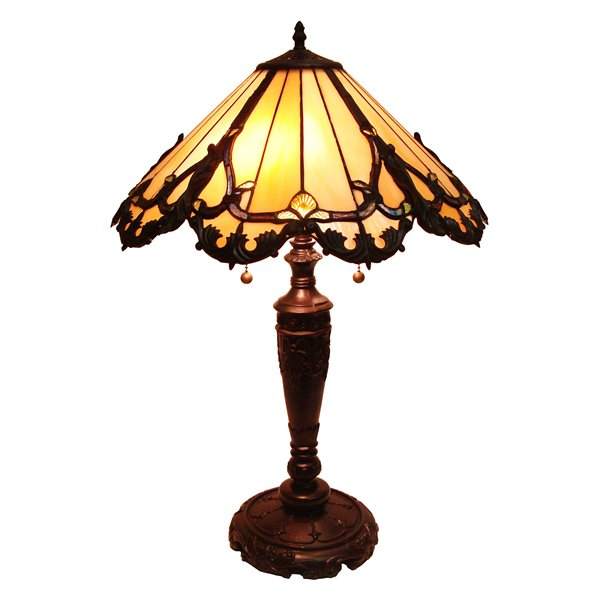 Fine Art Lighting Ltd. Tiffany 17-in x 27-in with Vintage Bronze Base and Multi Coloured Glass Shade Table Lamp