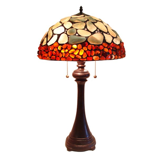 Fine Art Lighting Ltd. Tiffany 16-in x 29-in with Vintage Bronze Base and Multi Coloured Glass Shade Table Lamp