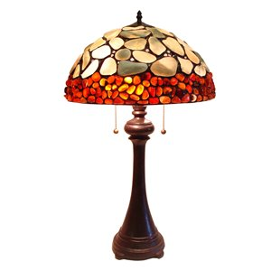 Tiffany 16-in x 29-in with Vintage Bronze Base and Multi Coloured Glass Shade Table Lamp