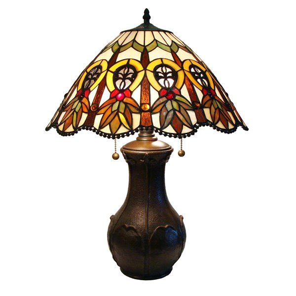 Fine Art Lighting Ltd. Mission 21-in Vintage Bronze Tiffany Style 2-Light Table Lamp