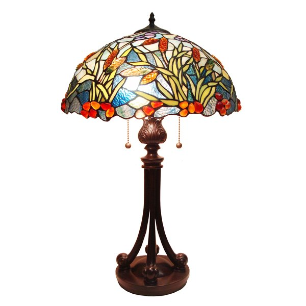 Fine Art Lighting Ltd. Tiffany 16-in x 26-in with Vintage Bronze Base and Multi Coloured Glass Shade Table Lamp