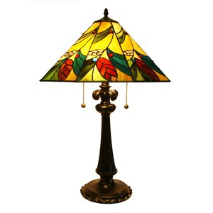 Tiffany 17-in x 26-in with Vintage Bronze Base and Multi Coloured Glass Shade Table Lamp