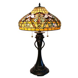 Tiffany 16-in x 28-in with Vintage Bronze Base and Multi Coloured Glass Shade Table Lamp