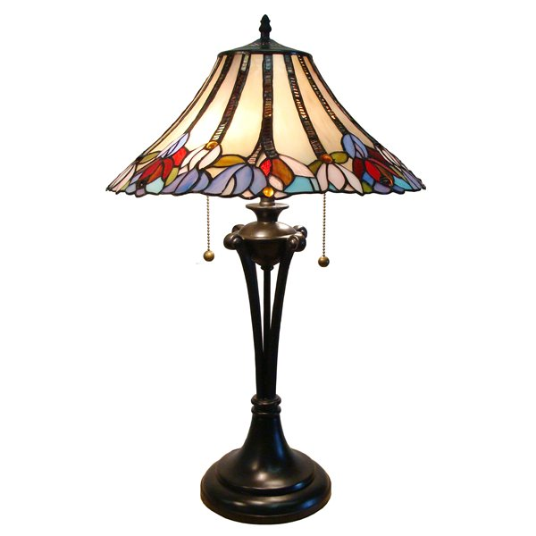 Fine Art Lighting Ltd Tiffany 16 In X 25 In With Vintage Bronze Base And Multi Coloured Glass Shade Table Lamp T1630 Rona