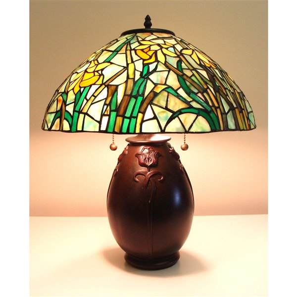 Fine Art Lighting Ltd. Mission 20-in Vintage Bronze Tiffany Style 2-Light Table Lamp