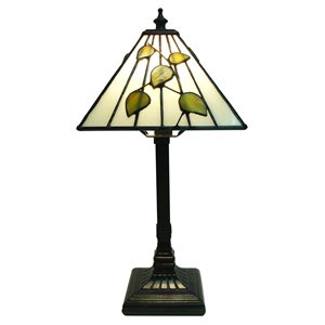 "Lampe de table Mission, style Tiffany, 7"" x 14,5"""