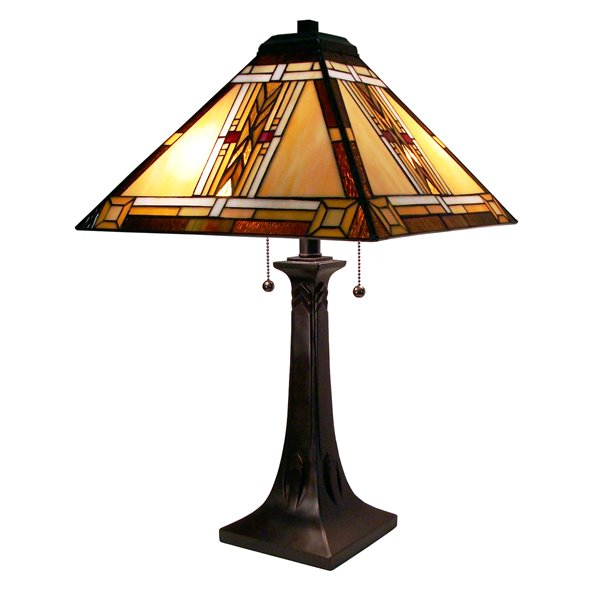 Fine Art Lighting Ltd. Mission 25-in Tiffany Style 2-Light Table Lamp
