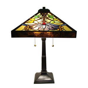 "Lampe de table Mission, style Tiffany, 16"" x 24"""