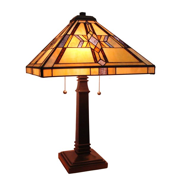 """Lampe de table Mission, style Tiffany, 16"""" x 25"""""""