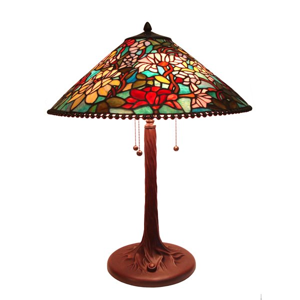 Fine Art Lighting Ltd. Tiffany 21-in x 26-in with Vintage Bronze Base and Multi Coloured Glass Shade Table Lamp