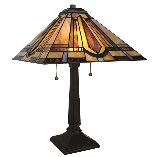 """Lampe de table Mission, style Tiffany, 16"""" x 23"""""""