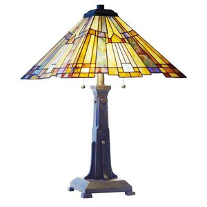"Lampe de table Mission, style Tiffany, 16"" x 25"""