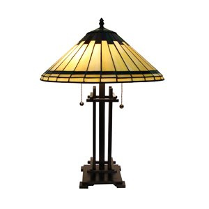 Fine Art Lighting Ltd. Tiffany Style 24-in Vintage Bronze 2-Light Table Lamp