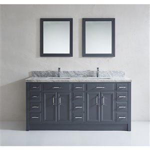 Calumet 75-in Double Sink Pepper Gray Bathroom Vanity with Marble Top
