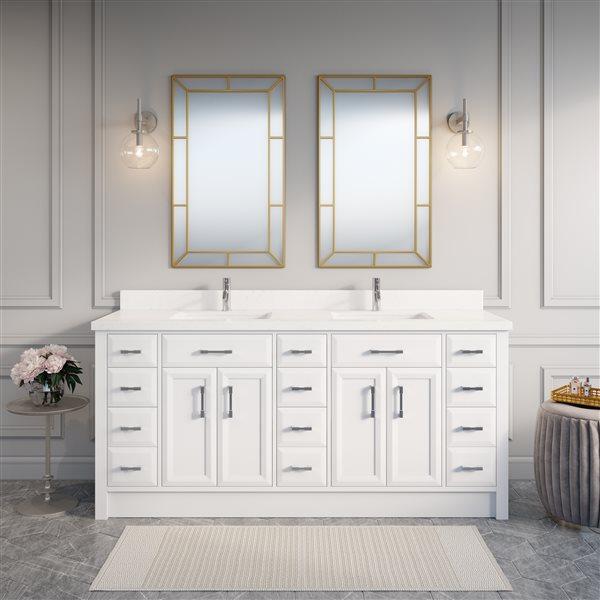 Calumet 75-in Double Sink White Bathroom Vanity with Quartz Top