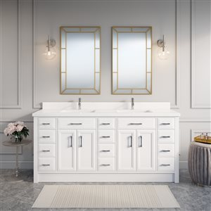 Calumet 75-in Double Sink White Bathroom Vanity with Quartz Top
