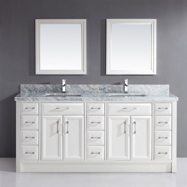 Calumet 75-in Double Sink White Bathroom Vanity with Marble Top