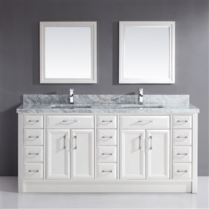 Calumet 75-in Double Sink White Bathroom Vanity with Marble Top
