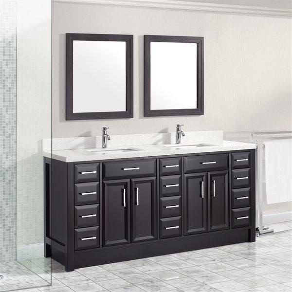 Calumet 75-in Double SInk Espresso Bathroom Vanity with Quartz Top