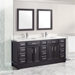 Calumet 75-in Double SInk Espresso Bathroom Vanity with Quartz Top