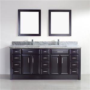 Calumet 75-in Double Sink Espresso Bathroom Vanity with Marble Top