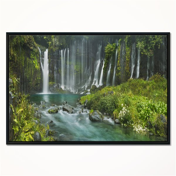 Designart Canada Framed Shiraito Falls 30-in x 40-in Canvas Wall Art