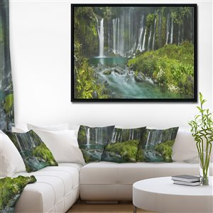 Framed Shiraito Falls 30-in x 40-in Canvas Wall Art