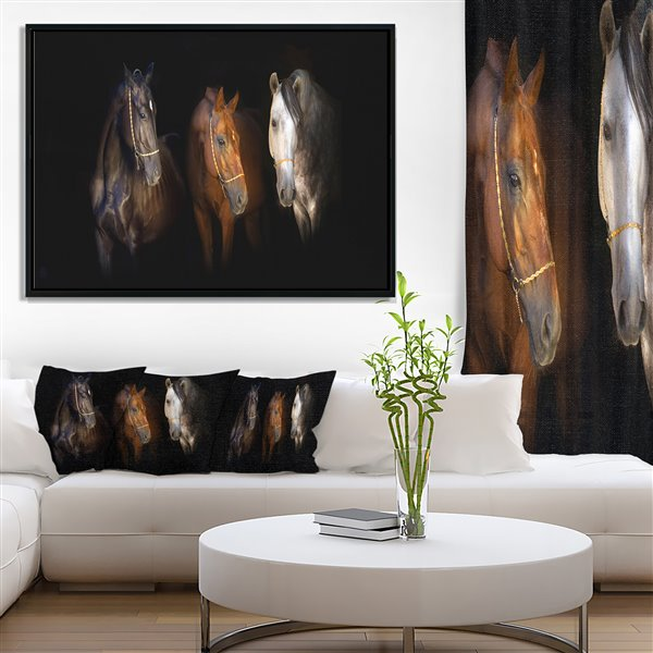 Designart Canada Three Horses with Golden Bridle 30-in x 62-in Wall Art
