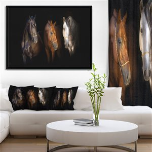 Three Horses with Golden Bridle 30-in x 62-in Wall Art
