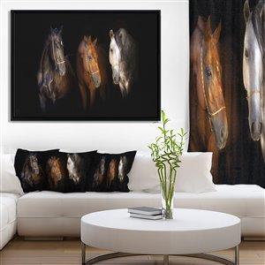 Tableau d'art, trois chevaux à la bride d'or, 30