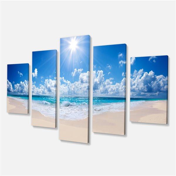"""Toile imprimée, plage tropicale, 32"""" x  60"""", 5 panneaux"""