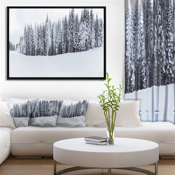 Designart Canada Framed Snow Capped Hills 30-in x 62-in Canvas Wall Art