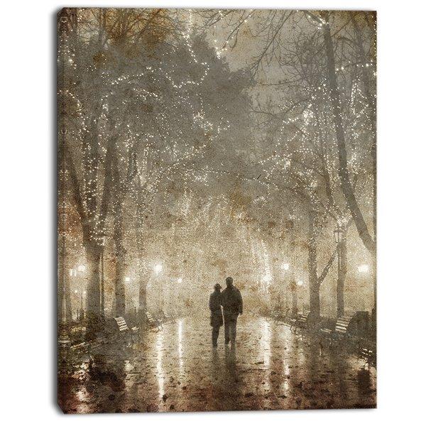 "Designart Canada Couple Walking at Night Canvas Print - 40"" x 30"""