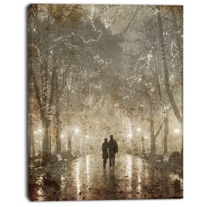 "Designart Canada Couple Walking at Night Canvas Print - 40"" x 30"""