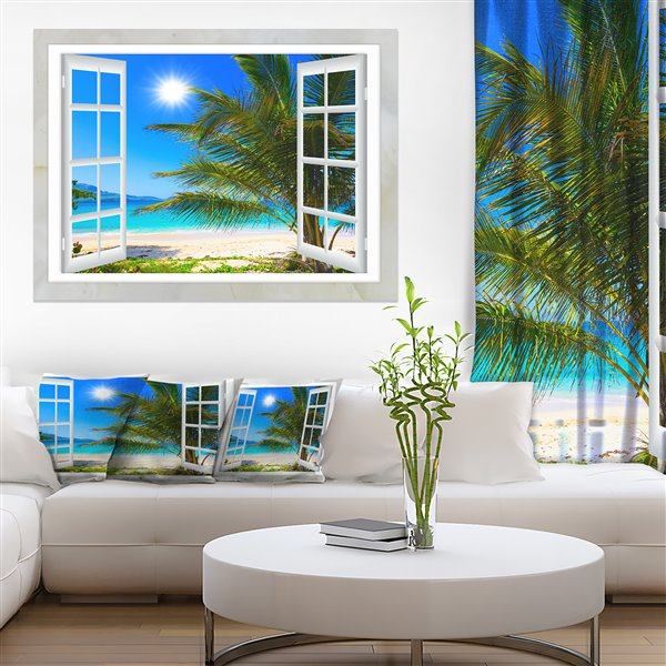 Designart Canada Window Beach View Canvas Print 30 X 40 Pt11433