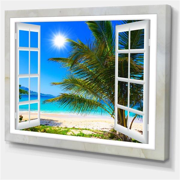 Designart Canada Window Beach View 30-in x 40-in Canvas Print Wall Art