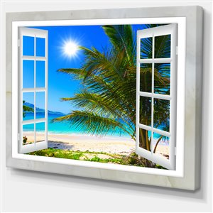 Designart Canada Window Beach View 30-in x 40-in Canvas Print Wall Art