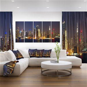 """Toile imprimée, New York de nuit , 28"""" x 60"""", 5 panneaux"""