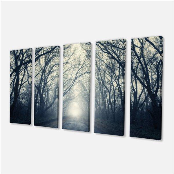 Designart Canada Foggy Autumn Forest Canvas Print 28-in x 60-in 5 Panel Wall Art