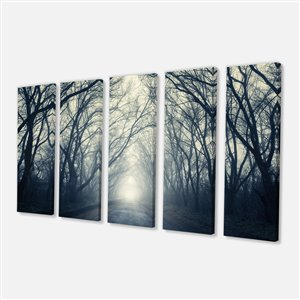 Foggy Autumn Forest Canvas Print 28-in x 60-in 5 Panel Wall Art