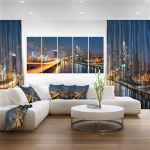 Philadelphia at Night Canvas Print 28-in x 60-in 5 Panel Wall Art