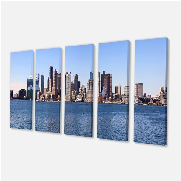 Designart Canada Boston Panorama Print on Canvas 28-in x 60-in 5 Panels Wall Art