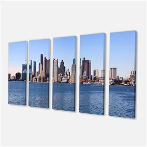 Designart Canada Boston Panorama Print on Canvas 28-in x 60-in 5 Panels Wall Art