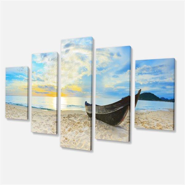 """Tableau d'art, calme plage panoramique, 32""""x 60"""", 5 panneaux"""